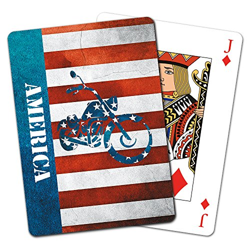 (Tree-Free Greetings Deck of Playing Cards, 2.5 x 0.8 x 3.5 Inches, Stars & Stripes Motorcycle  (CD15934))