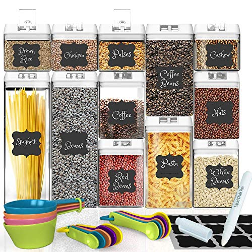 Shazo Airtight Container Set for Food Storage - 12 PC Set + 14 Measuring Spoons + 18 Labels & Marker - Strong Heavy Duty Plastic - BPA Free - Airtight Storage Clear Plastic w/White Interchangeable
