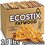 EasyGoProducts Approx. 120 Eco-Stix Fatwood Starter Kindling Firewood Sticks Wood Stoves Camping Firestarter Fire Pit BBQ, 10 Lbs