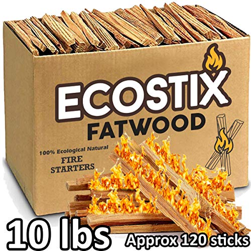 EasyGoProducts Approx. 120 Eco-Stix Fatwood Starter Kindling Firewood Sticks Wood Stoves Camping Firestarter Fire Pit BBQ, 10 Lbs (Starter Fire Kindling)