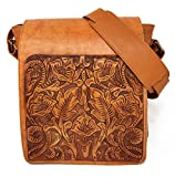 Juno Vintage Floral Artisan Leather Handmade Adjustable Messenger Cross Body Handbag Designer Gift for Women