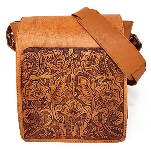 Juno Vintage Floral Artisan Leather Handmade Adjustable Messenger Cross Body Handbag Designer Gift for - Tooled Leather