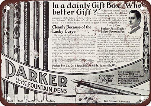 GKrepps 1910 Parker Fountain Pens Vintage Look Reproduction Metal Tin Sign 8X12 Inches