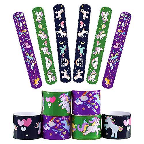 Moncolis 12 Piece Slap Bracelets Party Favors Unicorn Supplies for Kids Birthday Halloween Carnival School Classroom Game Prizes -