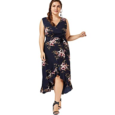 CharMma Womens Bohemian Plus Size V-Neck Floral Flounced Flowy Beach Dress (UK 12