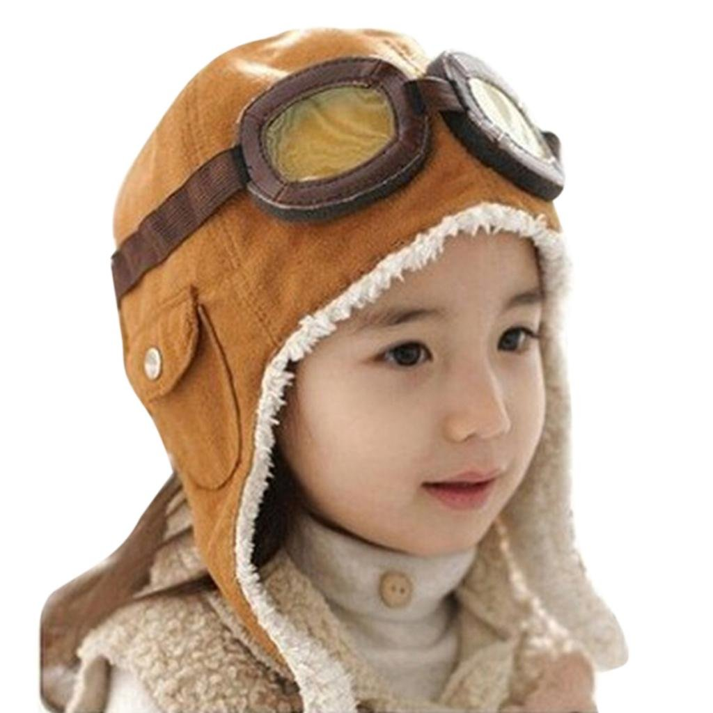 Hee Grand Toddler Winter Earflap Pilot Cap Hat Beanie Bomber Flight Helmet Brown B204-Brown