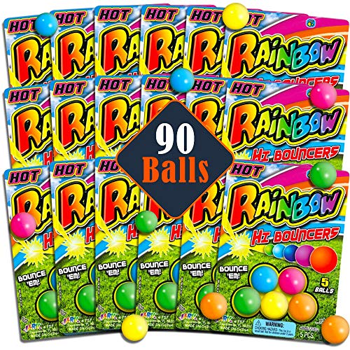 - Party Bag Fillers for Kids Birthday Super Set -- 18 Individual Party Favors Packs with 5 Rubber Bouncing Balls Each, 90 Balls Total (Party Bag Toys for Kids Boys Girls)