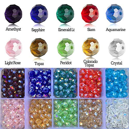 Lighting Fashion 10mm Wholesale Briolette Crystal Glass Beads Finding Spacer Beads Faceted Briollete Rondelle Shape Assorted Colors with Container ()