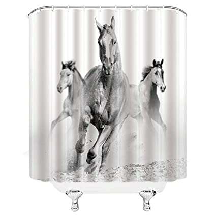 . Lileihao Running Gray Horse Shower Curtains Animal Bathroom Decor  Waterproof Polyester Fabric Home Bath Decor Supplies Accessories Blackout  Hanging