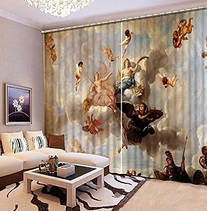 Amazon Com Wapel European 3d Curtains Angel Design Curtains For