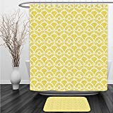 Vipsung Shower Curtain And Ground Mat Yellow Decor Ethnic Vintage Hand Drawn Shaded Oriental Patterns Chic Geometric Lines Motifs Home White and YellowBathroom Shower Curtain Set with Bath Mats Rugs