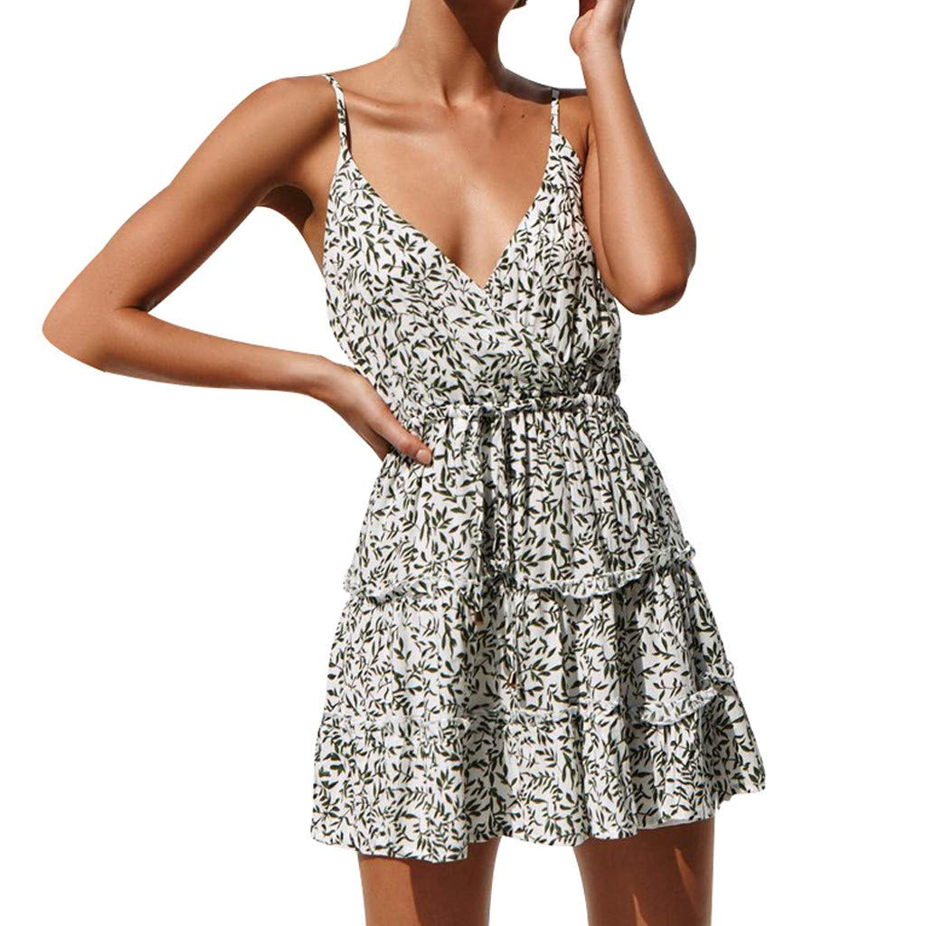 wodceeke Women's Summer Sexy Sleeveless Floral Print Sling V-Neck Mini Dress(White,L)