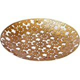 De Kulture Handcrafted Decorative Tray Round Brass Finish 9X0.8 DH (Inches) Plates (Gold)