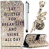 Vandot 3 in 1 Set Samsung Galaxy Note 4 N9100 Case,Colorful Printing Painting PU Leather Magnetic Closure Flip Stand Book Stlyle Wallet Case[Credit Card Holder][Perfect Fit] Protective Skin Cover Shell+Angel Anti Dust Plug+Stylus Screen Touch Pen-Gold Eat Glitter For Breakfast And Shine All Day