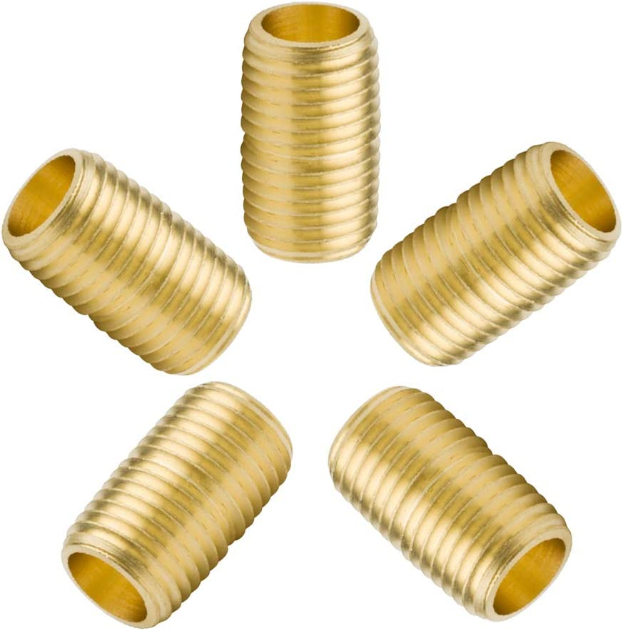 Pack of 5 Generic Brass Pipe Fittings,1//2 Male Close Nipple .