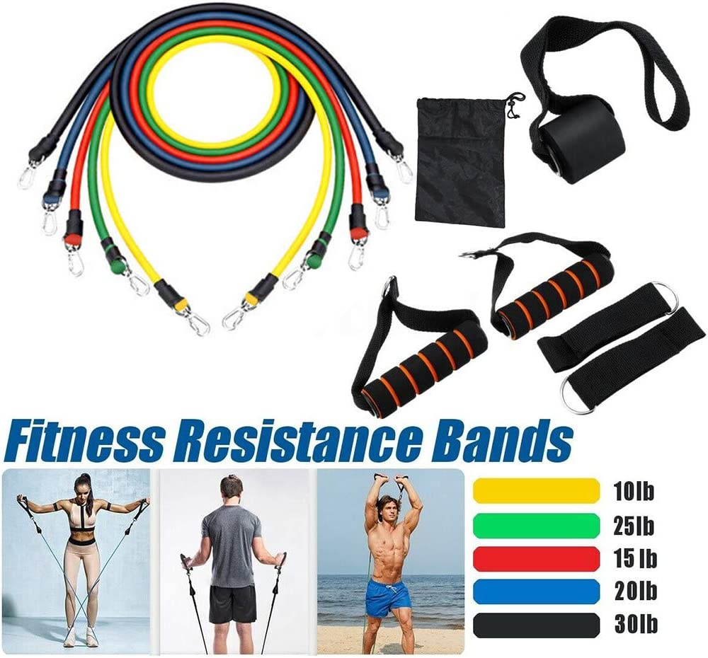 Home Workouts Yoga, Atezch 11pcs // Set Resistance Bands Set,Workout Bands,Handles and Ankle Straps,Stackable Natural Rubber Latex Fitness Re sistance Bands,for Resistance Training Physical Therapy