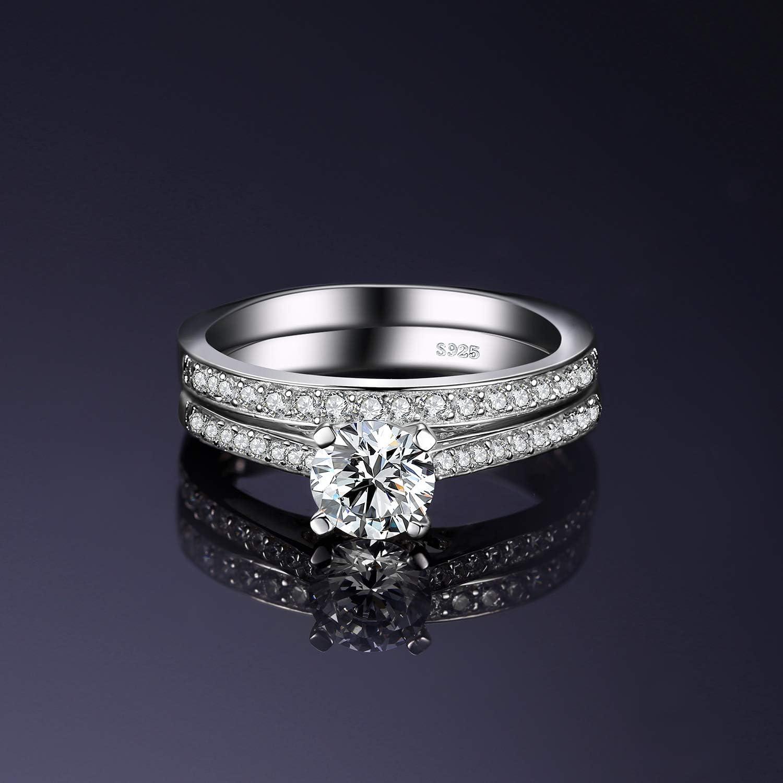 JewelryPalace 1.3ct Zirkonia Jubil/äum Hochzeitsband Solit/är Verlobungsring Braut Sets 925 Sterling Silber