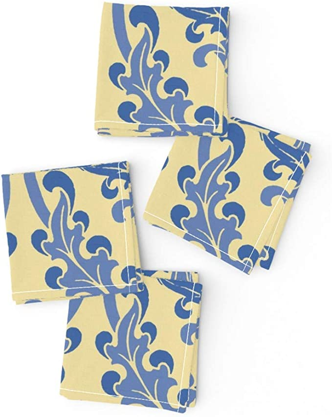 Tablecloth Provincial French Yellow Butter Blue Cotton Sateen