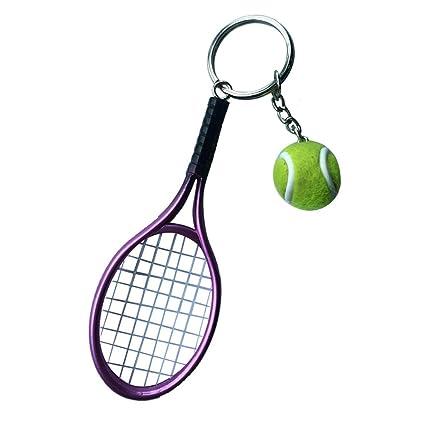 Llavero Colgante Anillo Joya Clave Mini Pelota de Tenis Raqueta Decoración Bolso Regalo - Morado
