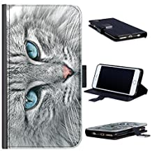 Hairyworm - BG0191 Grey cat with blue eyes Sony Xperia Z5 Premium leather side flip wallet cell phone case, cell phone cover with card slots, money slot, stand point and magnetic clasp to close. Sony eXperia Z5 Premium case