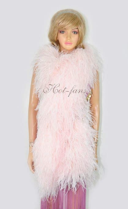"White Luxury Ostrich Feather Boa 20 ply fluffy long 71/"" 180 cm"