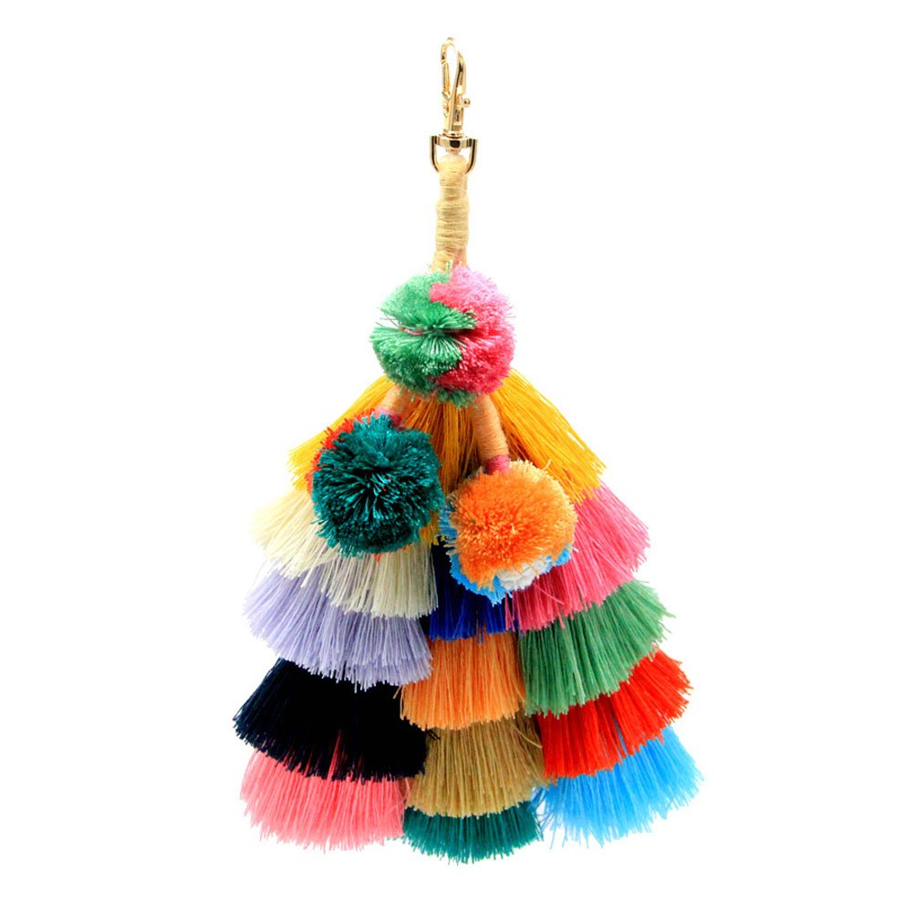 Donalworld Women Colorful Pom Pom Tassel Pendant Bag Charm Key Chain Handbag A