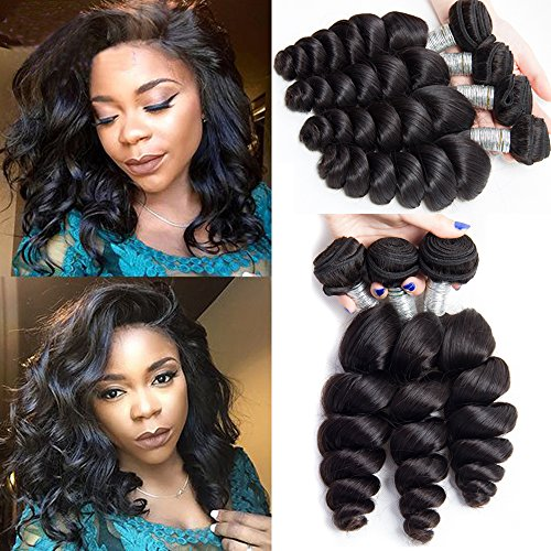 Maxine 10a Loose Wave Remy Virgin Human Hair Unprocessed Hair Weave Pack of 3 Hair Extensions Natural Color (10 10 12inch)