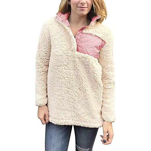 DreamedU Fashion Women s Pullover Stand Neck Buttons Fluffy Women Sweatshirt  Tops Blouse Ladies Guess Coats at Amazon Women s Clothing store  dfb117691ce