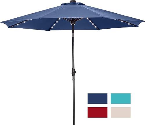 Ainfox 10ft Solar Patio Umbrella with LED Light, Steel Umbrella Ribs Waterproof Prevent Bask in for Garden, Indoor, Outdoor Use Navy Blue