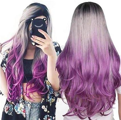Daxoon púrpura Peluca rizada Pelucas de Pelo sintético de ...