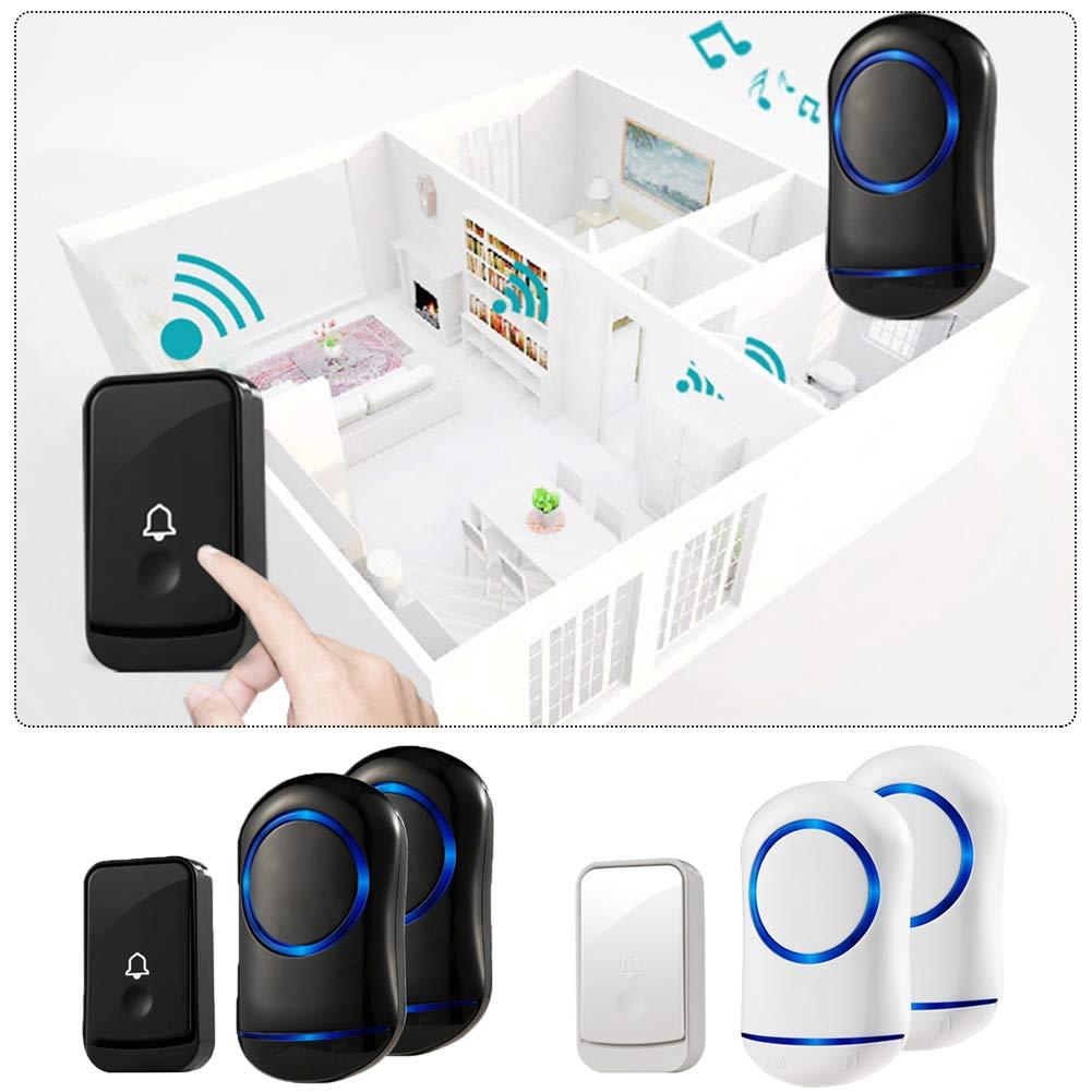 WXLAA Home Waterproof Wireless Doorbell 45 Songs Chime Door Bell 1 Transmitter 2 Receiver 300M Black EU Plug by WXLAA (Image #2)