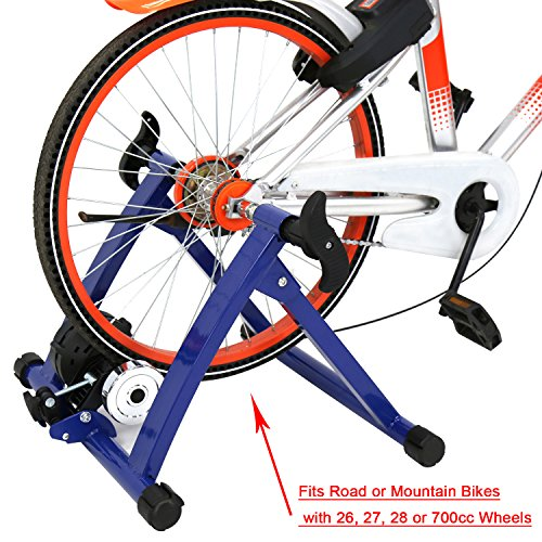 Kinbor Foldable Magnet Bike Trainer Indoor Exercise Adjustable 5/7 Magnetic Resistance, Blue