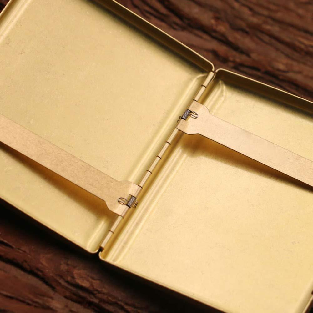 SSLW 20 Caja De Cigarrillos Metal Lat/ón Moda Port/átil A Prueba Agua La Puede Contener,Amarillo,95X80X16MM