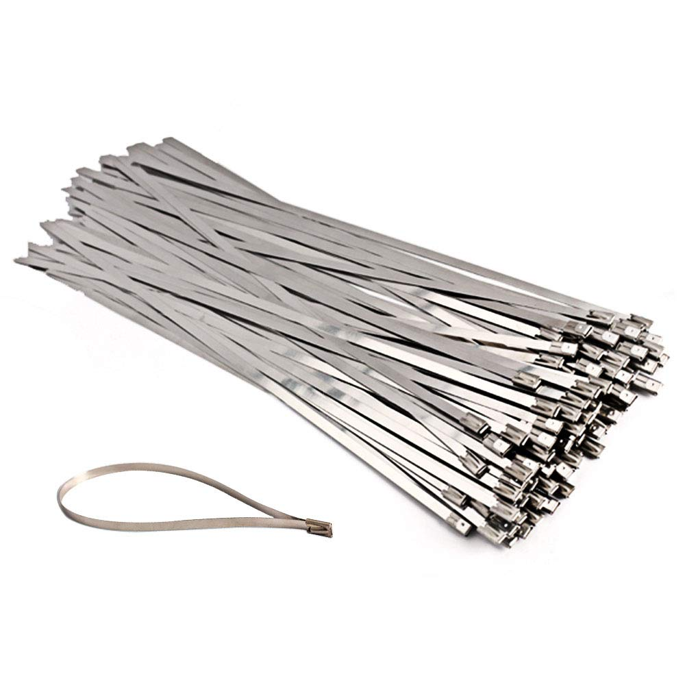 50pcs Stainless Steel Exhaust Wrap Coated Locking Cable Zip Ties 13.8 Inch