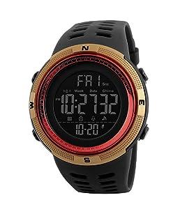 Sungpunet Reloj Deportivo Digital de Hombre Reloj Militar Reloj Fácil de Ligeros para Estudiantes cronómetro clásico Impermeable Dorado