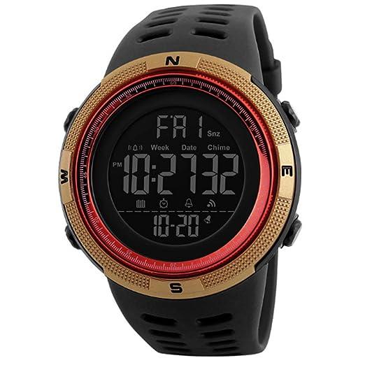 Hombre Digital Deporte Reloj Militar Relojes Easy Read Reloj para Estudiantes Agua Densidad clásica Cronómetro Golden: Amazon.es: Relojes