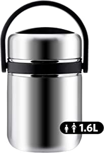 Soup Thermos Wide Mouth,3 Tier Food Thermos Jar, Leakproof Vacuum Bento Lunch Box Food Carrier 304 Stainless Steel Insulated Thermos Food Container Storage Carrier (1.6L-53 OZ, Black)