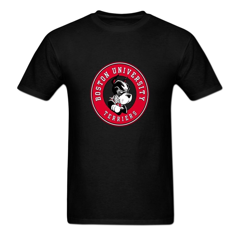 JINLI DIY boston university terriers 100% Cotton Crew Neck Men's T-Shirt M Black