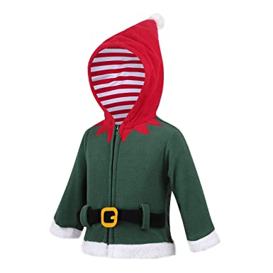 dPois Baby Boys Girls Christmas Santa Claus Elf Fancy Hooded Sweatshirt Long Sleeve Winter Jacket