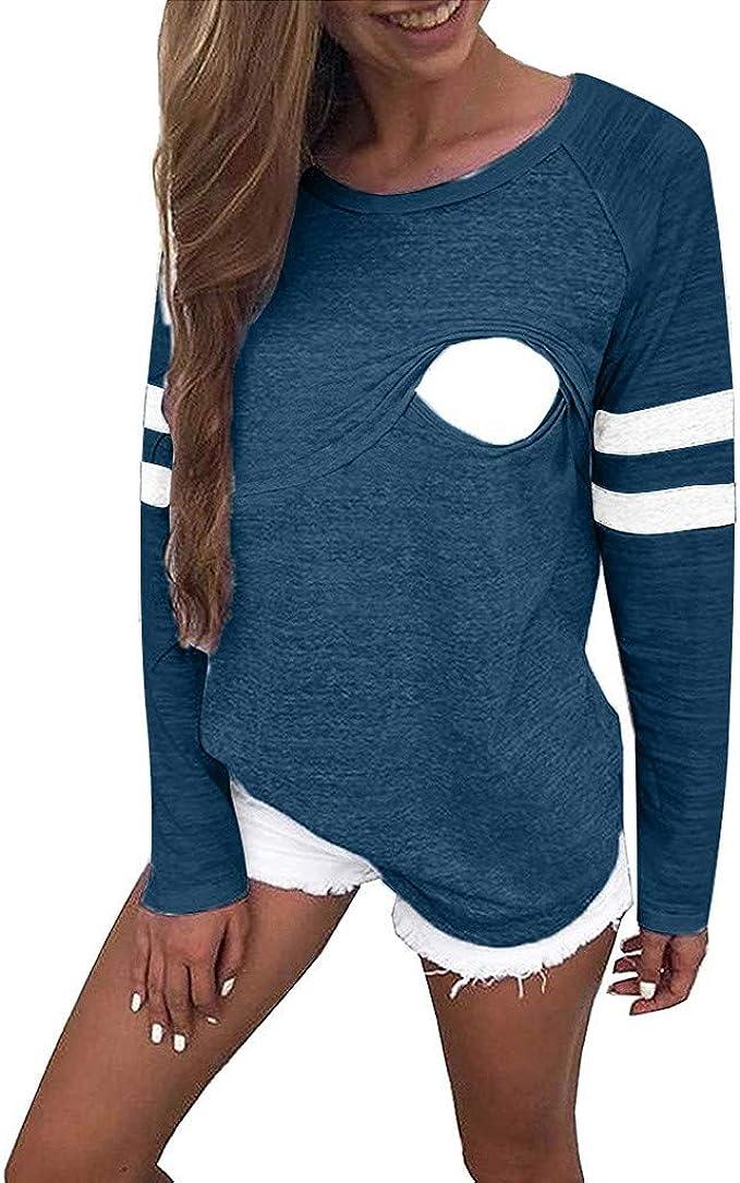 Aberimy/Damen/Stillshirt/Langarm/Baumwolle Solide Casual Maternity/Langarmshirt/Stillpullover/Stilltop/Umstandsshirt/Mode Taste Schwangerschaft/Umstandsmode/Still/Shirt/Oberteile/T-Shirt