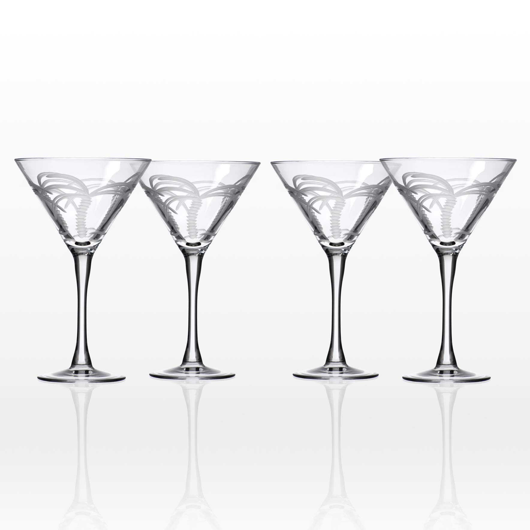 Rolf Glass Palm Tree Martini Glass, 10 Ounce, Set of 4