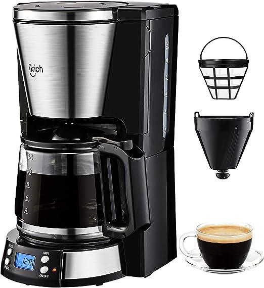 IKICH Cafetera de Goteo, Jarra de Vidrio 1.5 L(12 tazas), Control ...