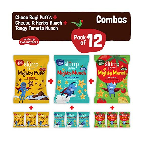 Slurrp Farm Super Healthy Snack, 240g with Combo Pack of 12 - Three Awesome Flavours (Ragi Non-Fried Ready to Eat Snack for Kids)