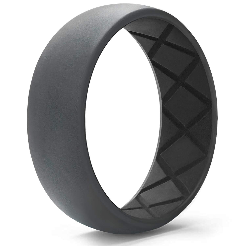 Egnaro Silicone Wedding Ring for Men, Dual-Tone