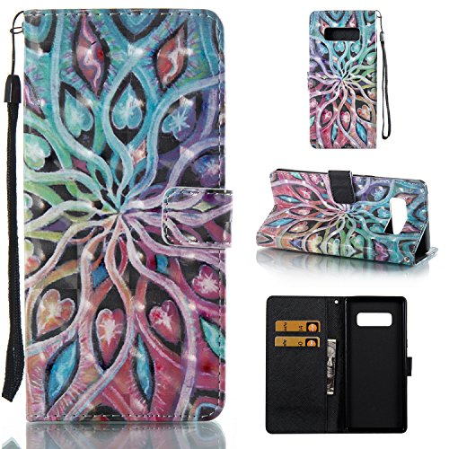 Galaxy Note 8 Case,SAVYOU 3D Pattern PU Leather Flip Wallet Case Stand Cover with Wrist Strap Card Slot Design for Samsung Galaxy Note 8