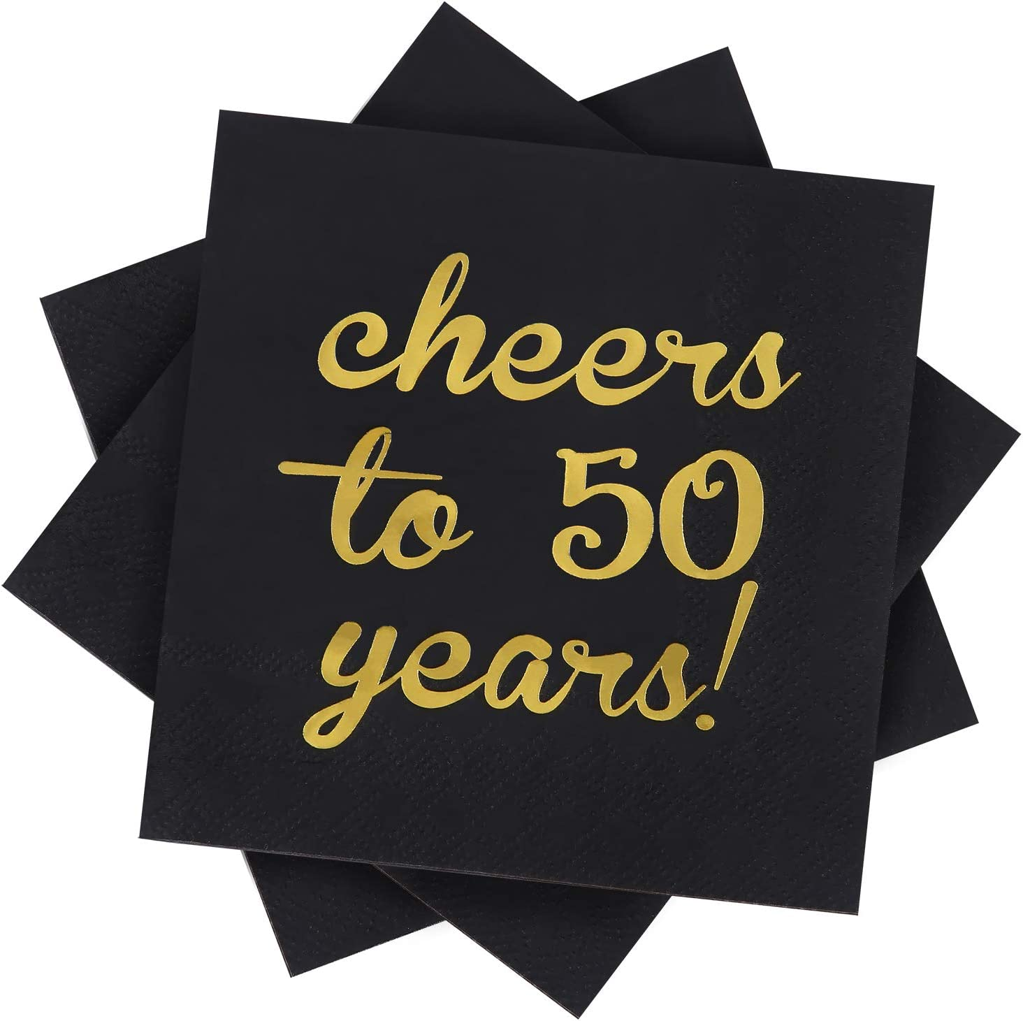Elcoho 60 Pack Cocktail Napkins 50th Birthday Decorations Luncheon Napkins for Birthday, Anniversary Party Supplies, Cheers to 50 Years Design, 2 Layers, 5 by 5 Inches (Cheers to 50 Years)