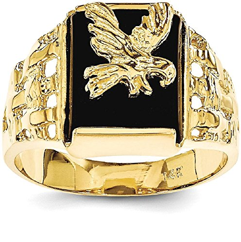 Gold Onyx Eagle Ladies Ring (ICE CARATS 14k Yellow Gold Mens Black Onyx Eagle Band Ring Size 9.00 Man Fine Jewelry Dad Mens Gift Set)