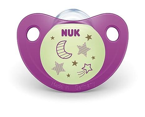 NUK 10177129 Night & Day - Chupete de silicona (forma adaptada a la mandíbula, 18-36 meses, 2 unidades), color morado