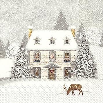 20 Servietten Winter Forest Schneemann Reh Weihnachten Kinder