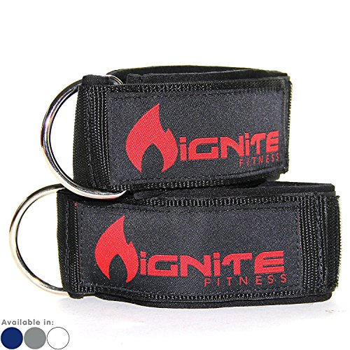 Wrist Velcro - Neoprene Ankle Straps By Ignite Fitness (2 Pk), Intensify Your Machine Cable Workouts for Abs, Legs, and Glutes - Durable Fitness Cuffs with D Ring and High Strength Velcro - Fits Both Men and Women